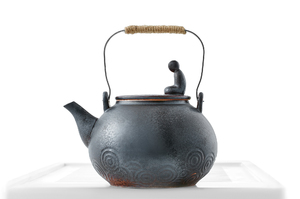 Black Glazed Round Kettle With Metal Handle