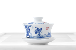 Blue And White Gaiwan With Lotus Flowers