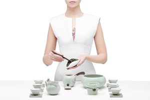 Gongfu Tea Ceremony Set With Light Green Glaze