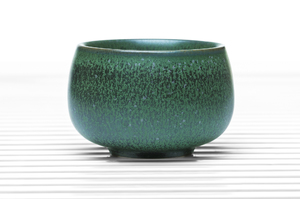 Dark Green High Sided Round Tea Bowl