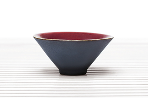 Conical Tea Bowl With Brown Outer Glaze And Crimson Inner Glaze