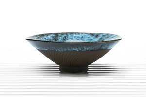 Conical Tea Bowl With Blue Crackle Glaze