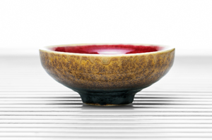 Deep Flared Tea Bowl With Amber Outer Glaze And Crimson Inner Glaze