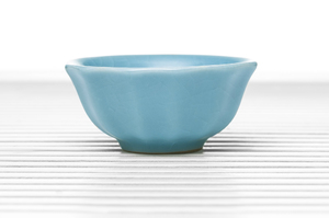 Conical Tea Bowl With Sky Blue Crackle Glaze