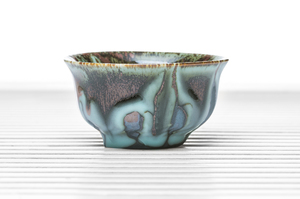 Half Cylinder Tea Bowl With Blue Drip And Maroon Glaze